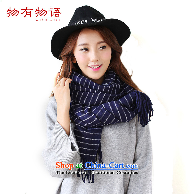 With the end of the scarf girl won the Chinese version of the new horizontal streaks or bands of cashmere shawls warm autumn and winter edging wild long Knitting scarves knitted couples Navy are code