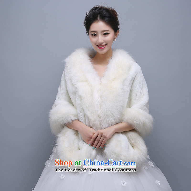 2015 WINTER new bride wedding shawl Thick Long Korean dress Warm white cape shawl
