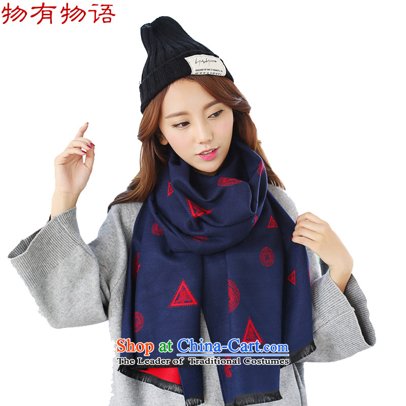 With the end of the scarf women Monogatari Western autumn and winter new cashmere triangles to the lions head scarves retro warm Fancy Scarf two with red spell Navy are code