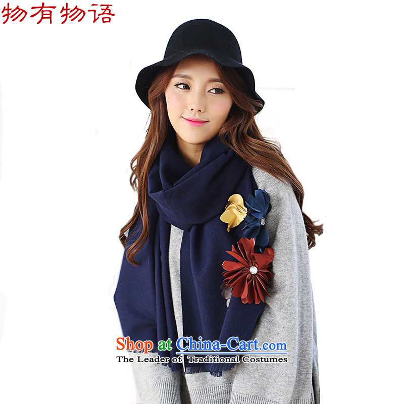 With the end of the scarf women Monogatari Western autumn and winter of Considerate New Hua cashmere pure color arts fresh Korean Knitting scarves knitted cardigans4313Navy are code