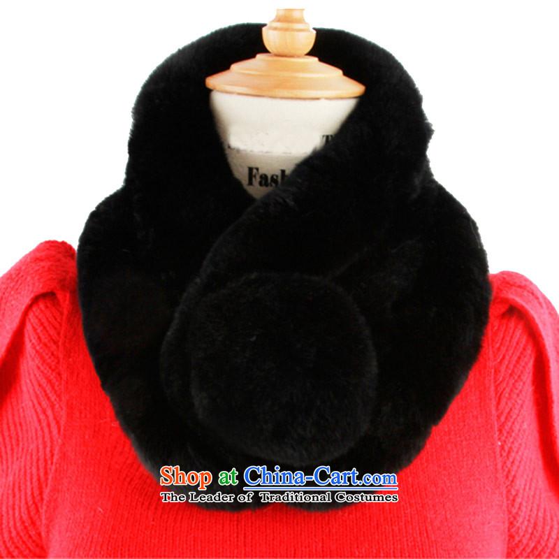 The Korean version of the process a rabbit hair fur muffler female winter65_13 black