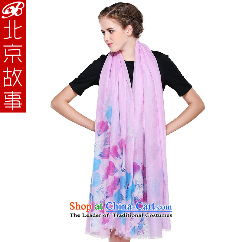 Beijing story counters genuine 3454 Premier Cashmere scarf female winter hand painted pashmina shawl scarf dual-use extension Pink