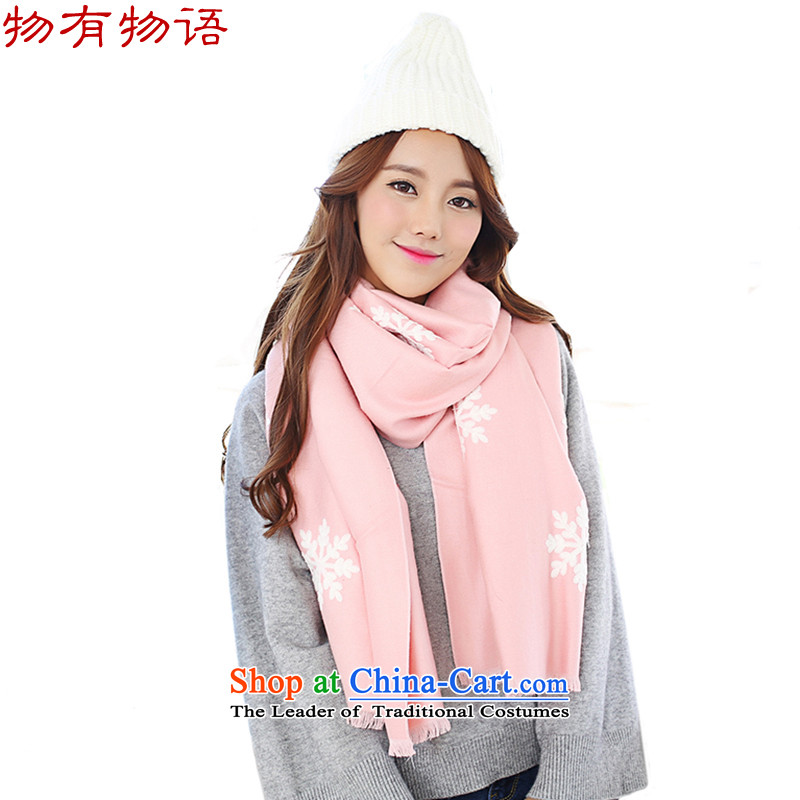 With the end of the scarf Monogatari female Korean version of the new winter retro arts young women snowflake pure color long cashmere knitting sweater wild fancy scarf two pink are code