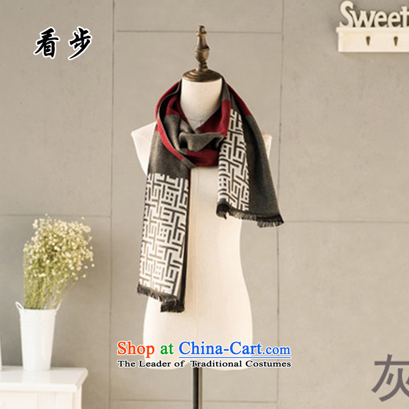 See Step-by-step men's woolen scarves 2015 autumn and winter new Korean version of England Knitted Lamb Wool Velvet thickened latticed warmAj-m001 agray and red
