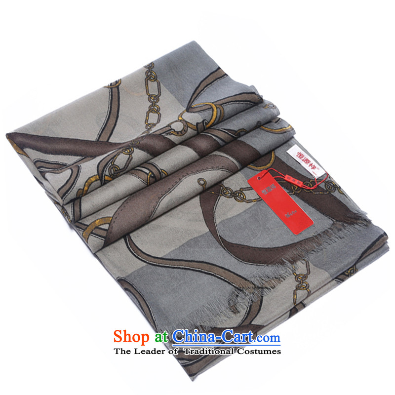 Hang Yuen Cheung-wool Australia wool Ms. Thick Long Fancy Scarf chain stamp gift boxed chain leather detained Gray