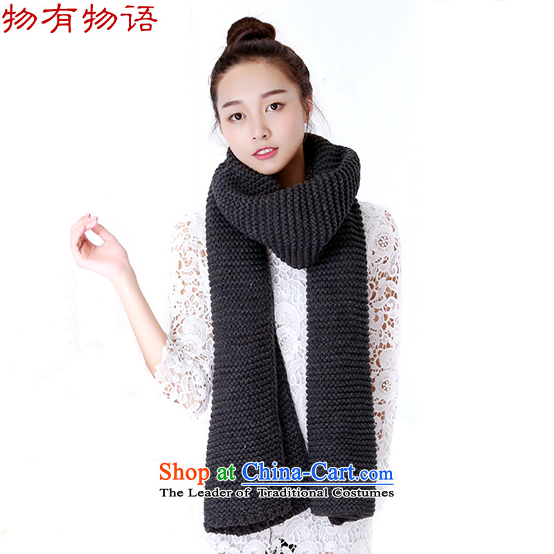 With the end of the scarf Monogatari female 2015 autumn and winter new Korean Knitting scarves knitted thick solid color of line scurf also warm couples are code carbon scarf