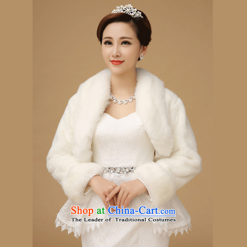 2015 WINTER new bride wedding thick hair shawl Korean wedding dresses warm white cape Jacket