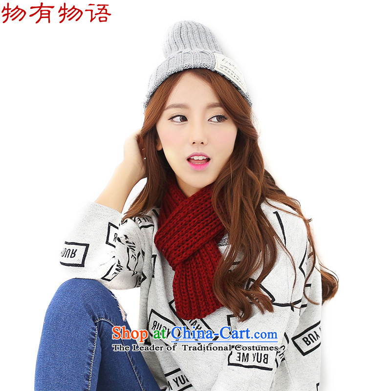 With the end of the scarf Monogatari female Korean version of autumn and winter coarse Knitting scarves knitted solid color small thick warm men and women a wild scarf bourdeaux are code
