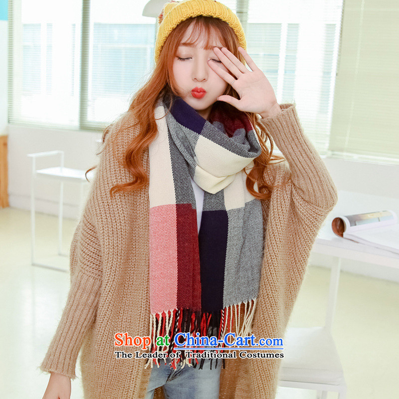 Winter scarf female thick warm longer shawl in Korean version of two of autumn and winter latticed couples students wild a blue and red.