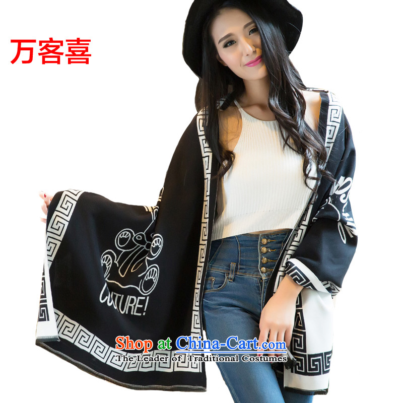 Million visitors in the autumn and winter female pashmina shawl4313) Cubs) Black and White