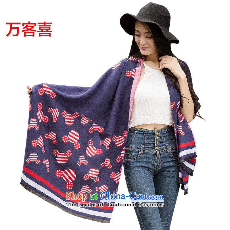 Million visitors in the autumn and winter female pashmina shawl, dual-use Mickey, Mickey_ Navy