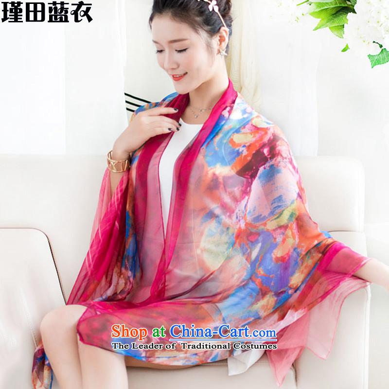 Jin Tian Blue 2015 Korean version of national wind long stamp shawl Ms. masks in the scarf silk scarf 1314 Bonus