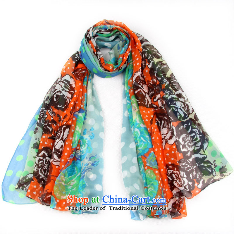 Shanghai Story stylish dot silk scarfs widen long sunscreen silk scarf beach towel herbs extract stamp shawl 158021 Blue orange, Shanghai Story STORY & shanghai) , , , shopping on the Internet