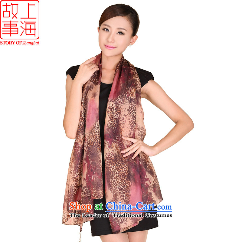 Shanghai Story, leopard silk scarfs extralong sauna Jamsil sunscreen silk scarf beach towel 167007 Brown