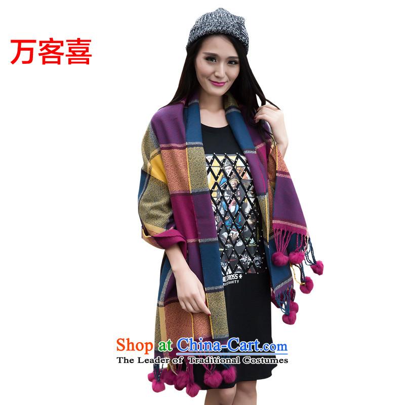 Customer-million scarf autumn and winter Ms. new thick Warm Big shawl and fur straw ball posh shawl gross ball, turmeric Purple