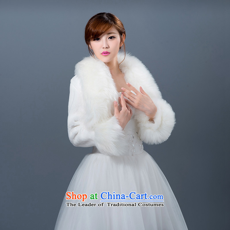 Seal the  new 2015 Jiang autumn and winter warm white cape wedding dresses qipao marriage with gross shawl White