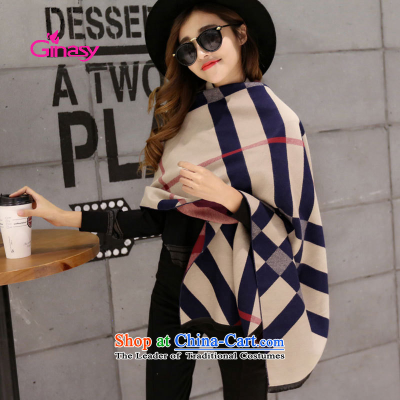 The new Korean) ginasy jewelry England knocked color grid wind shawl autumn and winter new thick warm pashmina shawl emulation large light card its