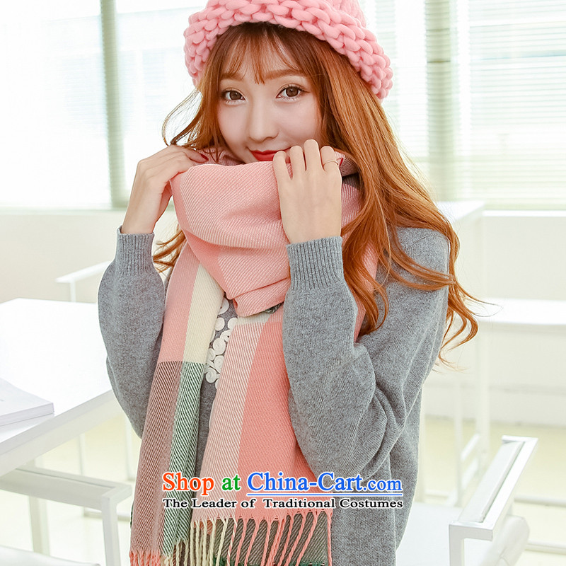 Winter scarf female thick warm longer shawl in Korean version of two of autumn and winter latticed couples students to a green are code