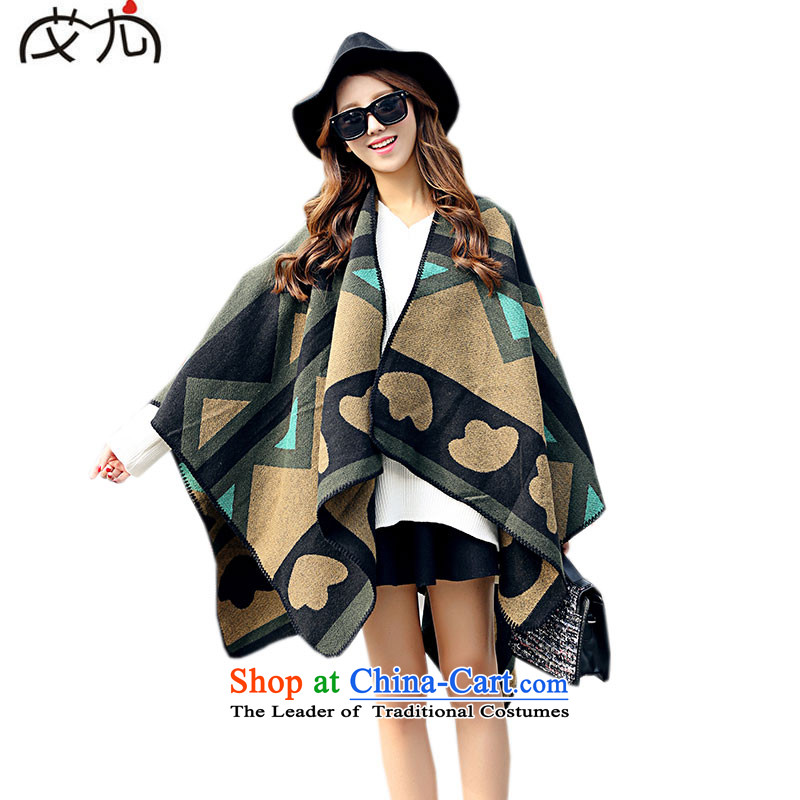 Mr Power with the forklift truck shawl winter thick warm color spell cashmere cloak jacket scarf female dark green