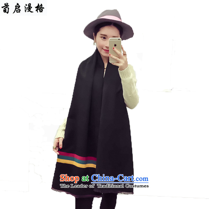 Sun Kai Man, autumn and winter new thick emulation pashmina shawl XCD702 duplex color streaks black