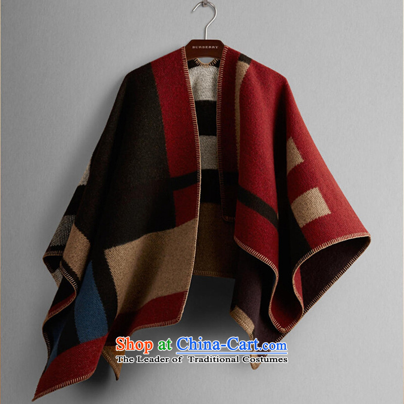 Soup with Europe and the star cd big B Ka Ying, Female autumn wind loading thick and classy towel plaid cashmere cloak, scarf aristocratic blanket two with the double-sided shawl 900g red