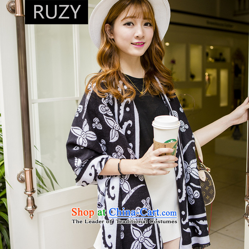 The Korean version of national wind RUZY cashmere shawls black and white flower girl scarf