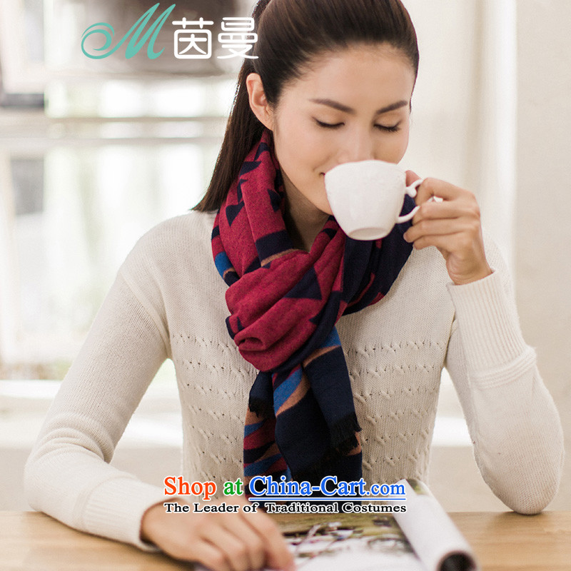 Athena Chu Cayman 2015 autumn and winter new color plane geometry Ms. Jacquard Scarf shawl wool two long 854140256 blue blue