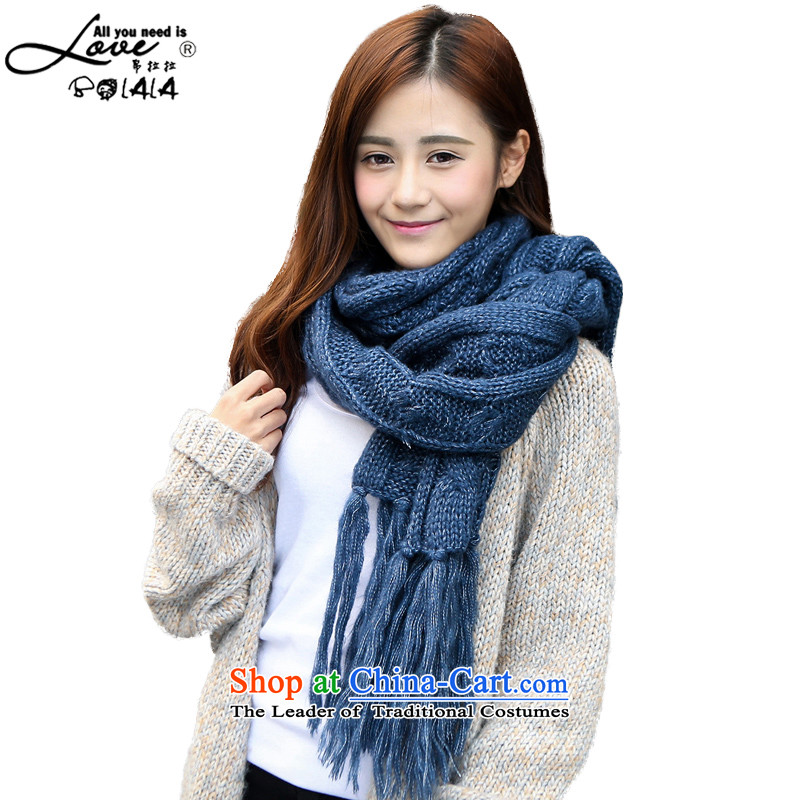 8D (winter 2015) won BOLALA version thick cable Knitted Scarf stylish scurf warranty squeezed su twist a Diamond edging blue long35*220cm