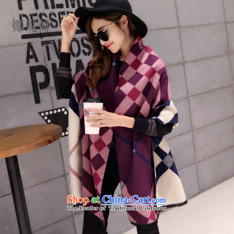 The customers of the new Korean, Tarja Halonen, the Wind knocked color grid shawl autumn and winter new thick warm pashmina shawl emulation of purple large