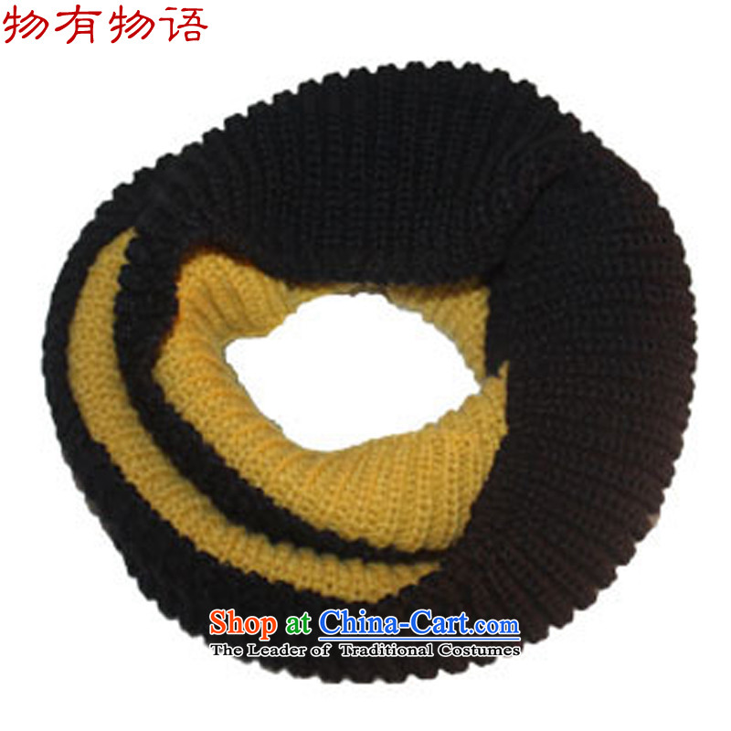 With the end of the scarf knitting Monogatari female winter-color extension extra thick warm color plane a knitting couples Ms. Black + TURMERIC160CM*38CM