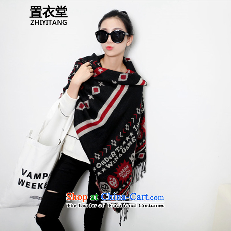 The Korean version of Yi wild flow Su Fancy Scarf dual-use of ethnic arts van emulation cashmere retro a long warm wind scarves stamp female black are code