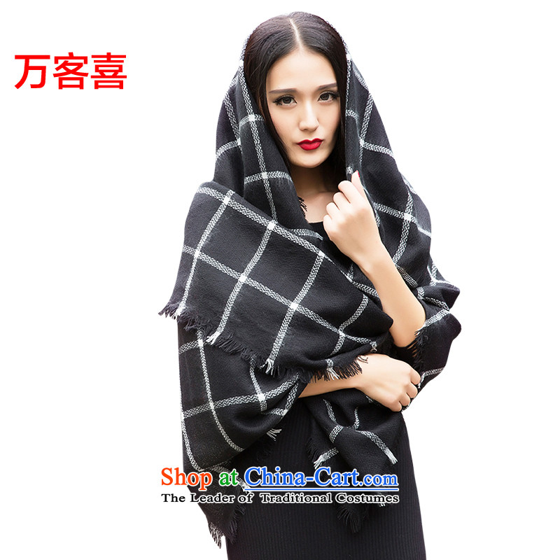 Guest-hi scarf girls million autumn and winter, extra thick grill shawl lattices, Black