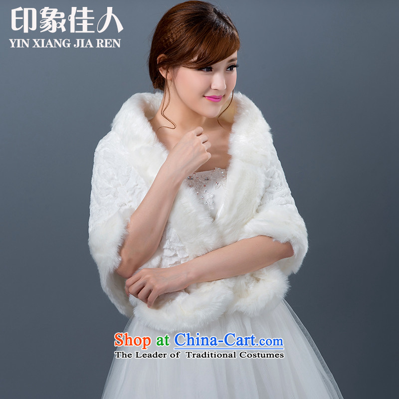 Starring impression new wedding gross shawl of autumn and winter, Marriage Code large white thick rabbit hair cloak fur bridal shawl Winter