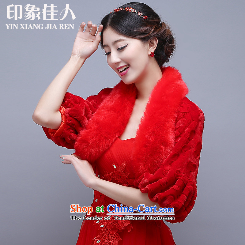 Starring impression wedding shawl autumn and winter, of Gross Gross in Red Shawl dress long-sleeved soft warm thick bride gross shawl