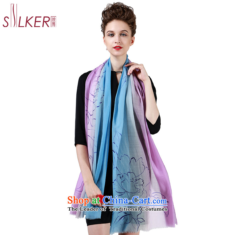 The population sector SIGI autumn and winter wooler scarf Korean president Fancy Scarf two high-hand-painted silk scarf shadow flowers gift Blue purple