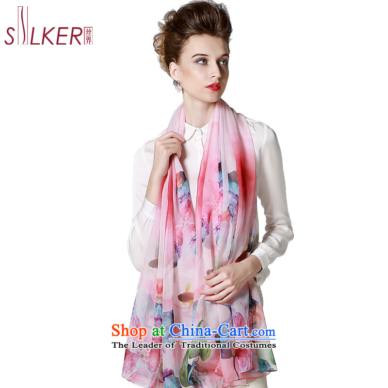 Sigi's new silk Korean silk scarves stylish stamp increase silk scarfs shawls herbs extract silk scarf colors with light pink