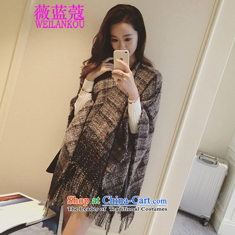 Ms Audrey EU Blue 2015 Korean Coe winter clothing New England grid design flow Su Edge Thick Fancy Scarf two female with dark gray