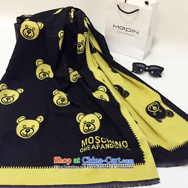 Woven Soo-down gross emulation pashmina, Cubs first stamp a thick scarves shawl NW070 Black Bear 190*65cm around Wong