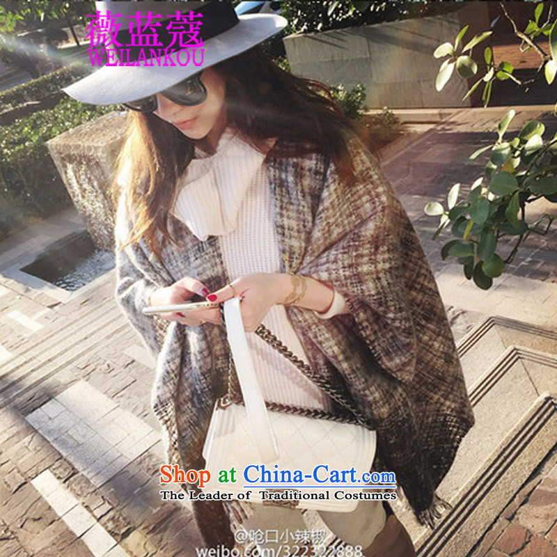 Ms Audrey EU COE 2015 Korean blue autumn and winter and the new port Small Peppers stars of the same polester velvet shawl the thick stream cloak jacket black