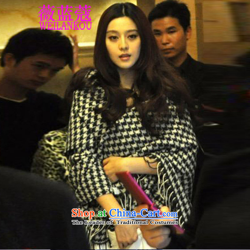 Ms Audrey EU COE 2015 Korean Blue New Fan Bing Bing with latticed scarf female to male autumn and winter Western big chidori grid black and white picture color emulation cashmere shawls