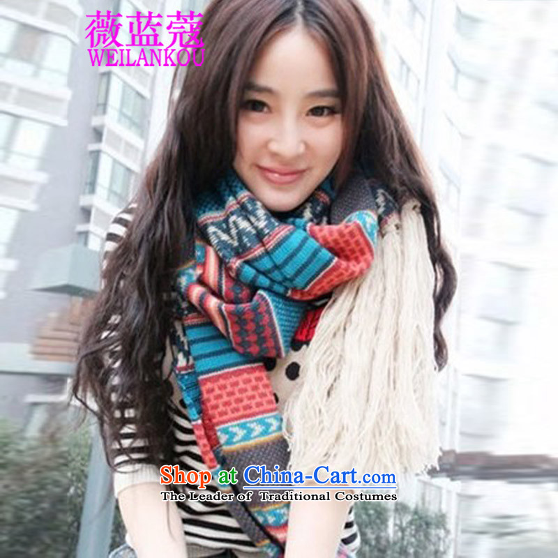 Ms Audrey EU blue Coe, 2015 Ms. Yang power with the extra-long thick stream a comb knitting, knitting Bohemia wind scarf Picture Color