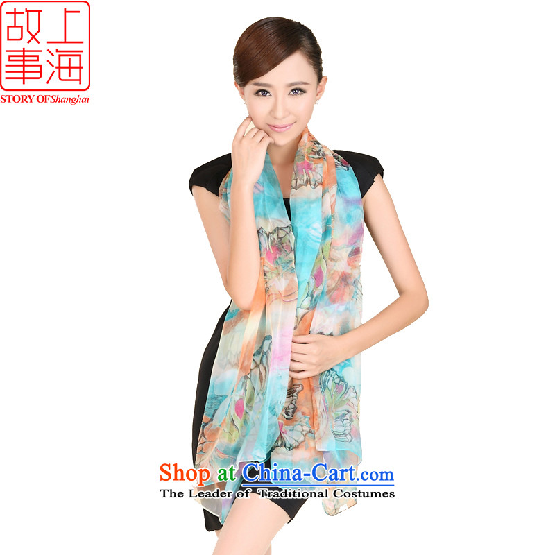 Shanghai Story new Korean president of curtain Butterfly Dance silk scarves, widen the extra-long herbs extract sunscreen silk scarf 185035 Blue