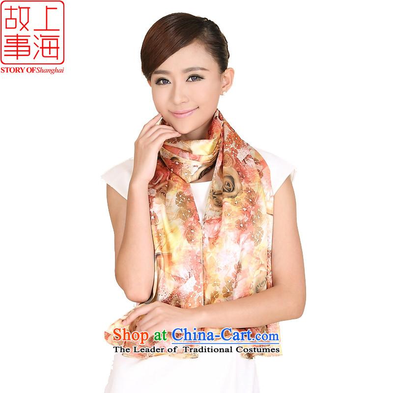 Shanghai Story stylish duplex stamp scarf rose leopard widen shawl176056 ADO/champagne color