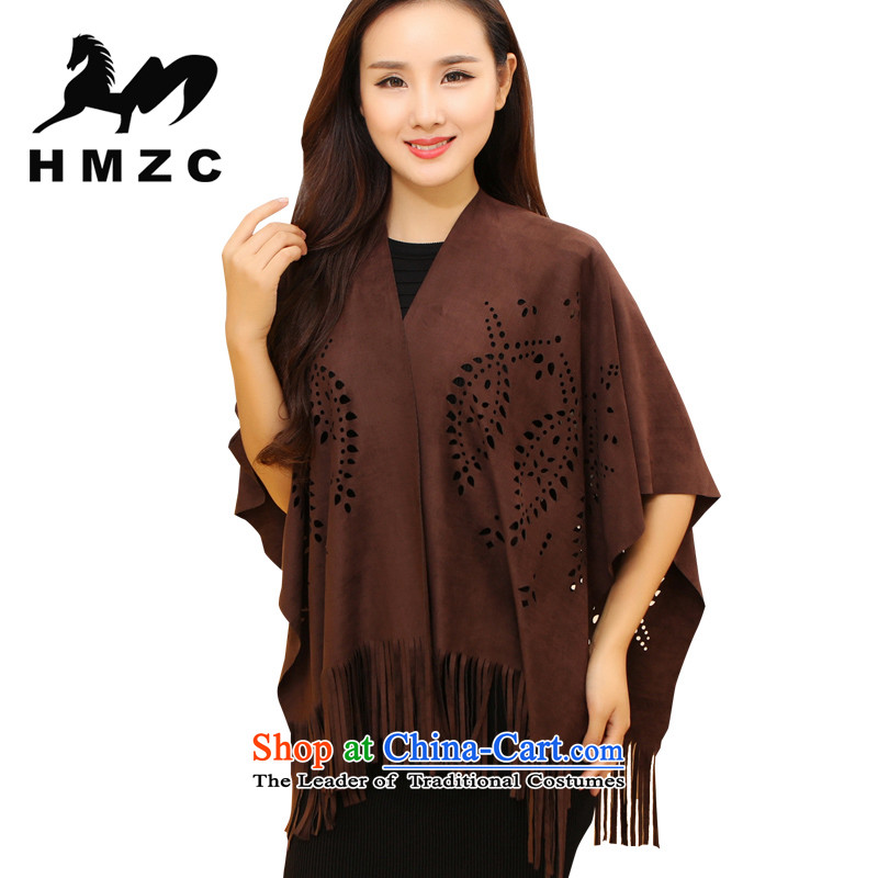 Ms. HMZC scarf Korean big shawl engraving edging Chamois Velvet shawl female brown maximum