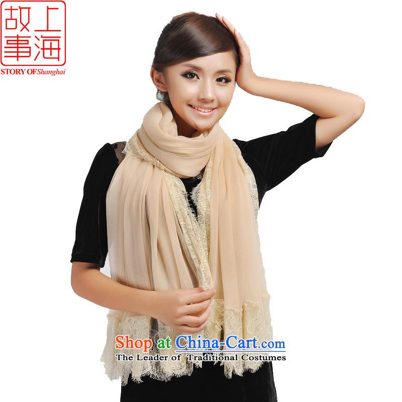 Shanghai Story Sky City Extralong Solid Color silk scarfs saika border of silk scarf beach towel 193073 Beige