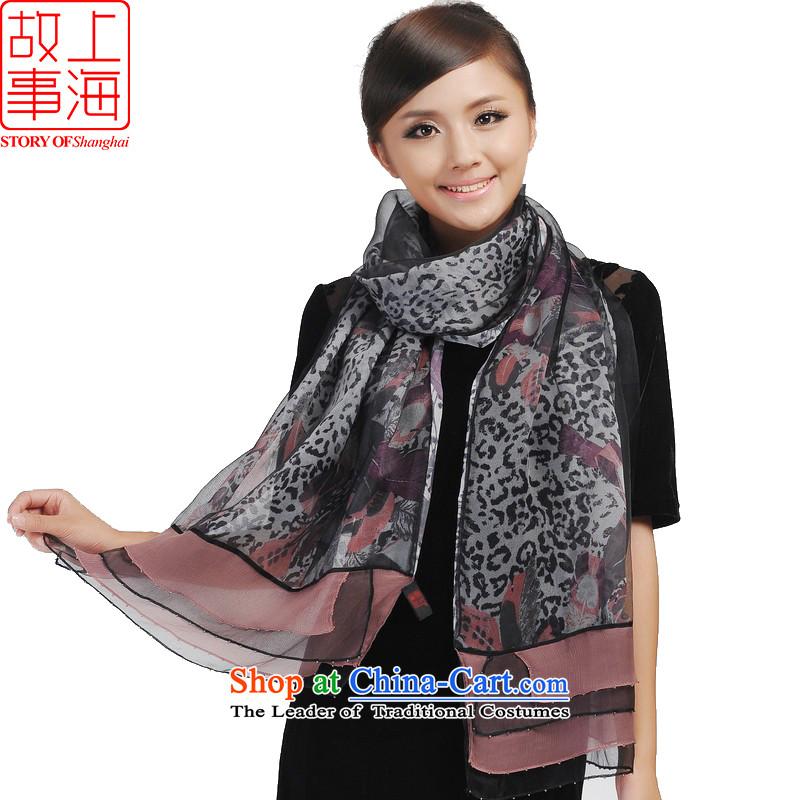 Shanghai Story new western leopard silk scarfs silk scarf 148078Black Toner Color