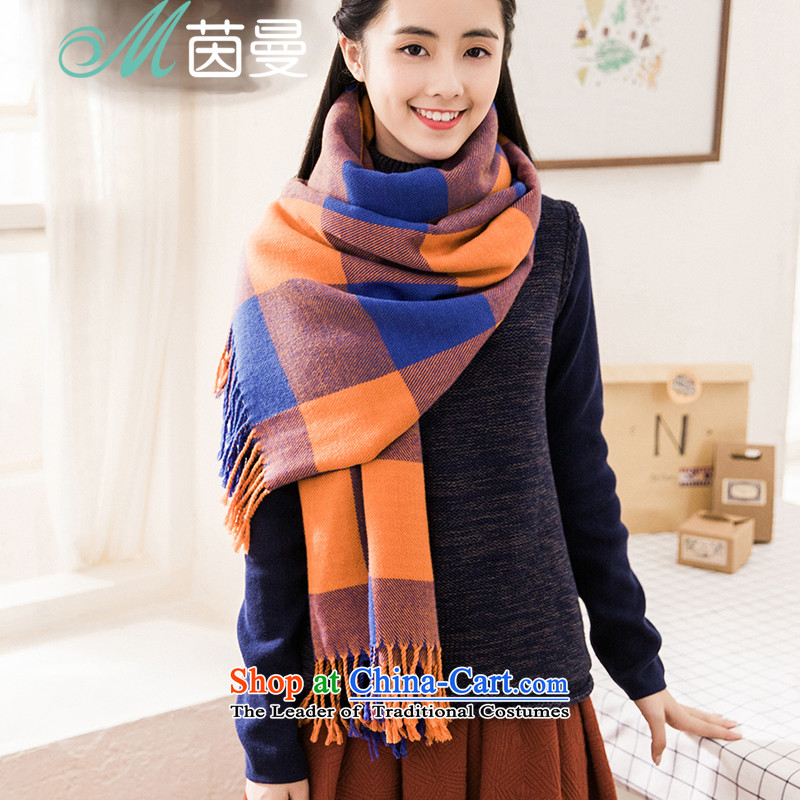 Athena Chu Cayman 2015 autumn and winter new arts grid edging decorated women's wild) Elections of the scarf 854140270] Blue Lagoon spell Orange Lake blue spell bisque