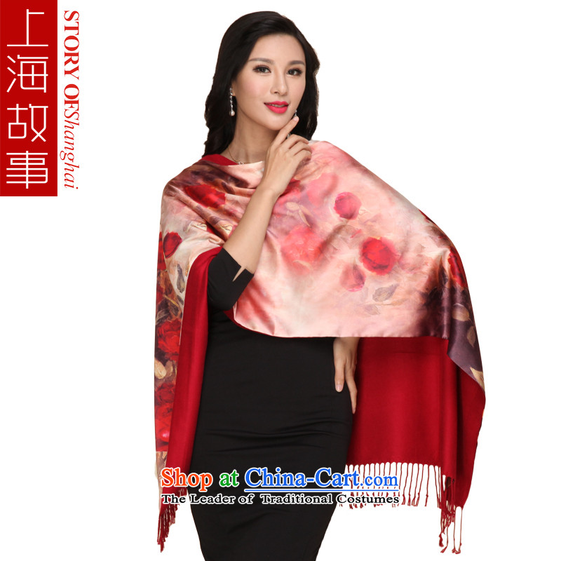 Shanghai Story Ms. silk scarf brushed shawl scarf autumn and winter warm a red rose