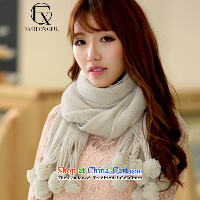 The litany of Rumsfeld 2015 autumn and winter new Korean style gentlewoman temperament pure color, a shawl knitting knitting thick warm Maomao ball lovely white scarf are code students