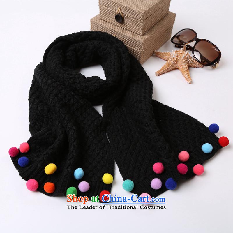 2015 WINTER new Korean Children Knitting scarves ball lovely thick black